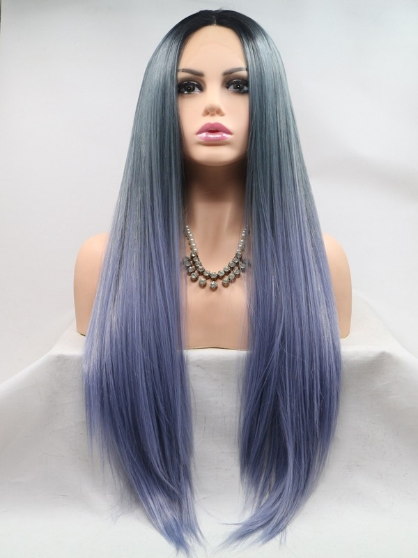trendy lace wig synthetic hair ombre straight