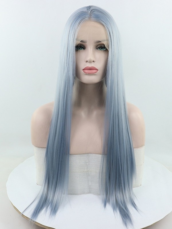 vintage blue synthetic lace wig heat resistant