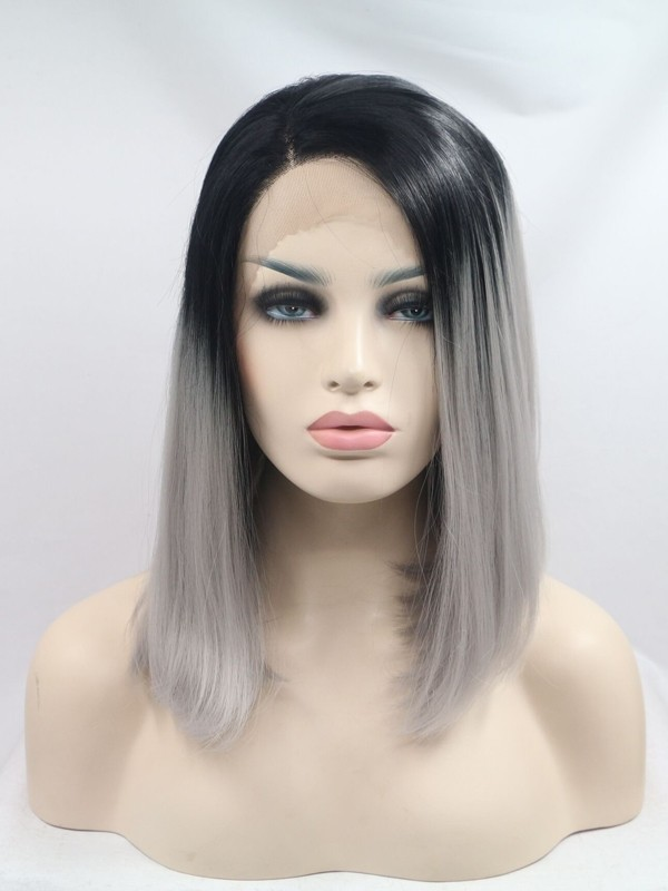 black root with grey bob synthetic lace wig