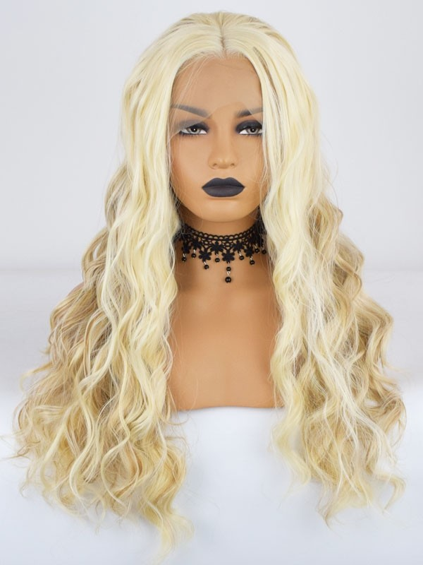blonde color beauty wavy fiber hair lace wigs