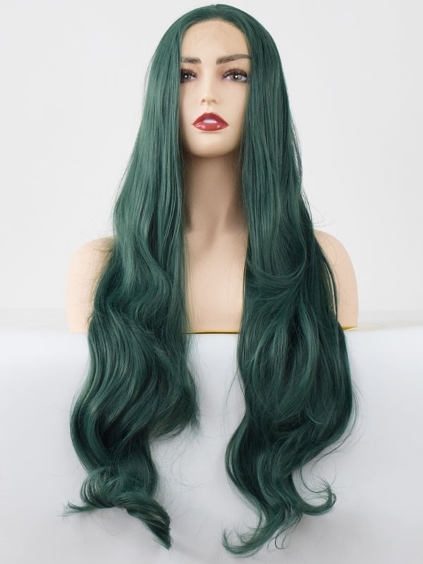 dark green color beauty synthetic lace hair wigs