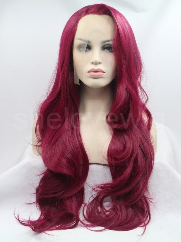 wine red color lace front wig synthetic hair wavy