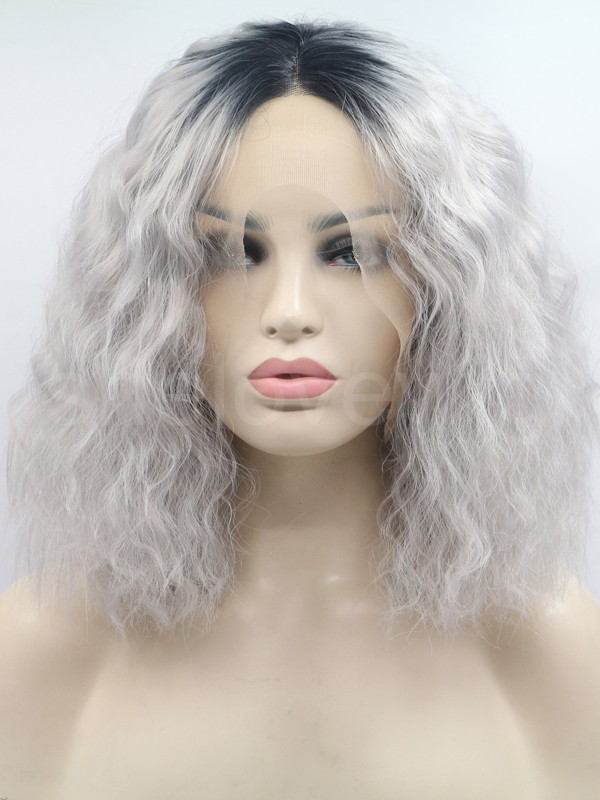 black grey short wig curl