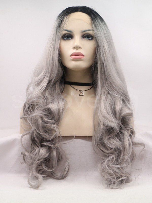 wave black grey lace front wig