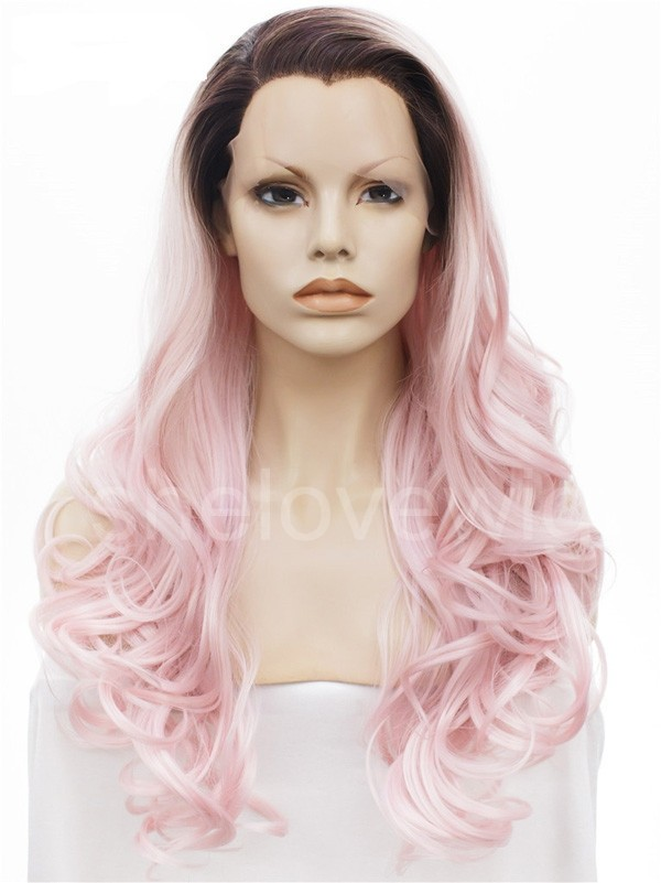 black root light pink lace front wig