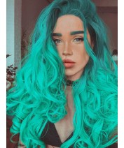 ombre green hair lace front wig for girl