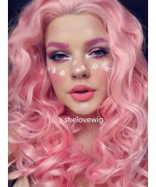 girl with pink hair lace wig