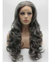 vintage gray lace front wig synthetic hair heat resistant