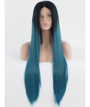 fashion synthetic hair lace front wig straight blue