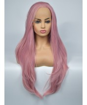 wave grey dark pink synthetic lace wig
