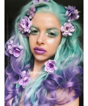 ombre synthetic hair lace wig green with purple