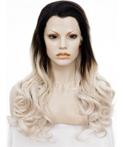black root platinum blonde synthetic lace front wig