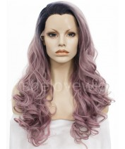 black with light purple lace front wig
