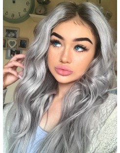 ombre grey human hair full lace wig