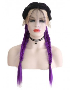 fashion design ombre purple braid synthetic lace wig