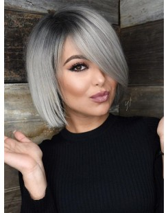 bob hairstyle ombre grey lace wig