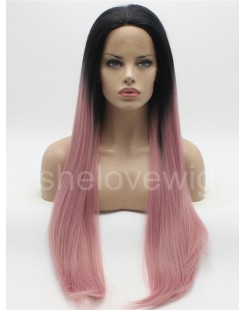 black root with dark pink synthetic lace wig