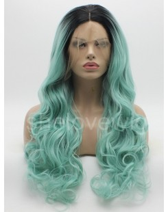 black root with green synthetic lace front wig