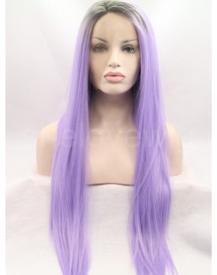 black root light purple lace front wig
