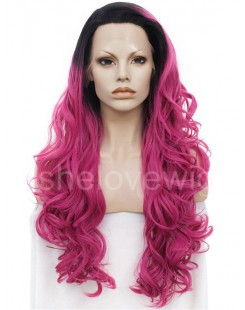 black with dark pink lace front wigs