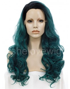 black with green lace front wig