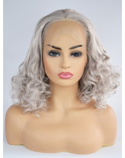 curl silver gray lace front wig