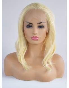 blonde synthetic lace front wig short hair