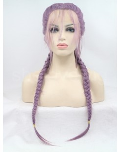 light purple fiber hair lace wig