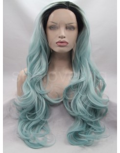 black lightest green lace front wig