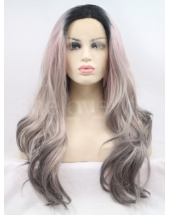 black three ombre grey lace front wig