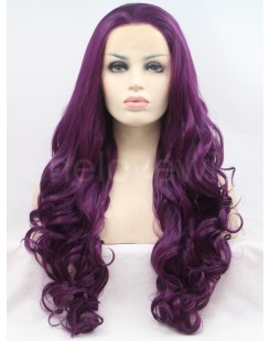 curl dark purple synthetic lace wig