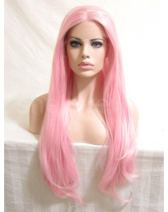 pink lace front wig straight