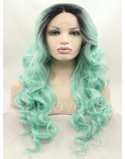honey green synthetic lace front wig