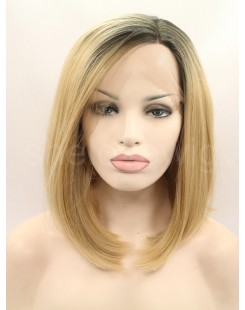 bob black blonde synthetic lace front wig
