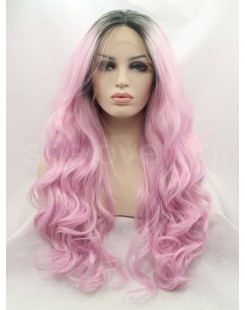 wavy black root pink lace front wig