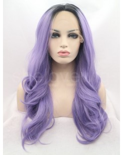 black with purple lace front wig