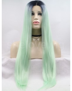 black root fresh green lace front wig