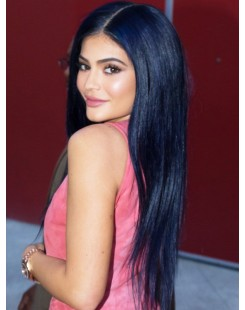natural straight black lace front wig