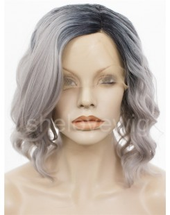 short black with grey wave synthetic lace wig