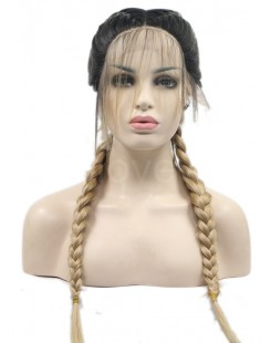 black blonde braid lace front wig