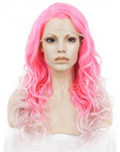 pink white ombre lace front wigs