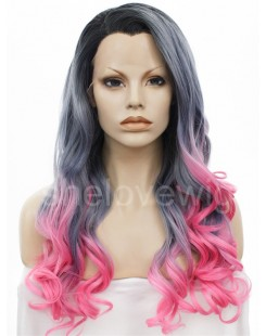 black gray pink lace front wig