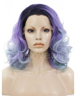 ombre color synthetic lace front wig